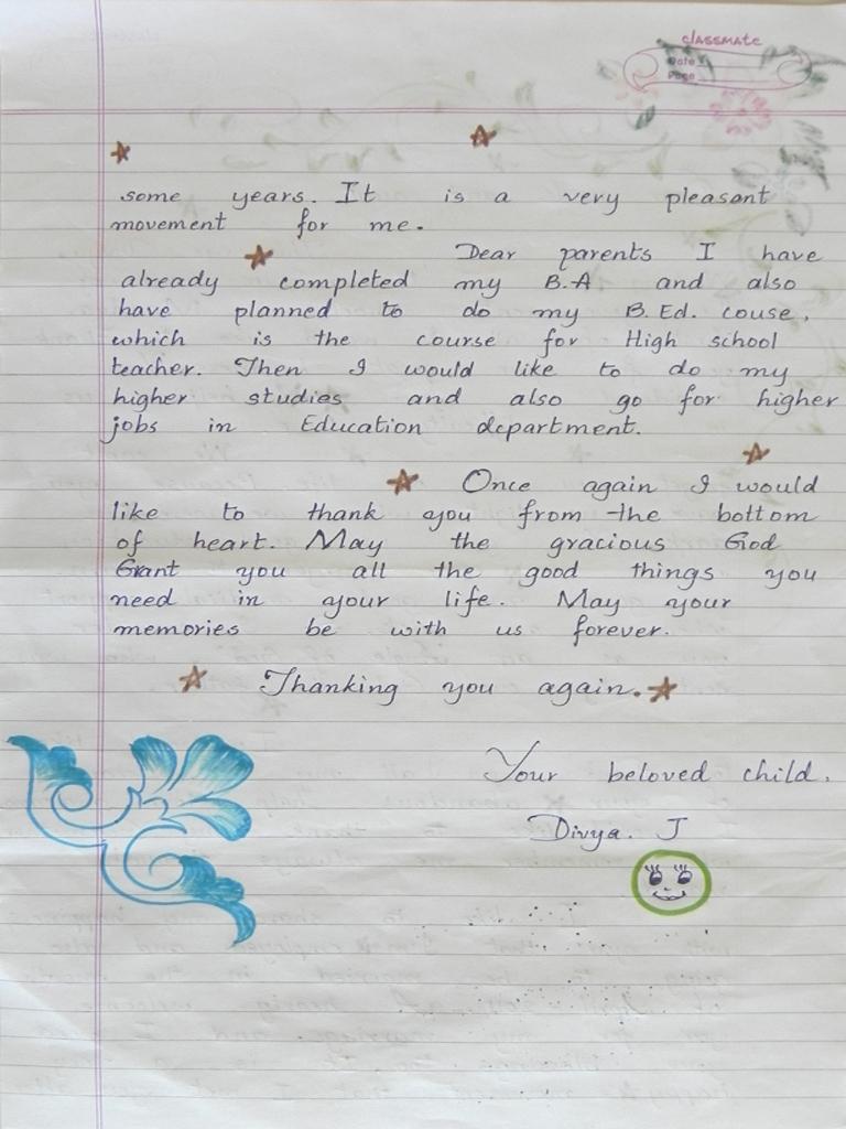 Erster Dankesbrief von Divya