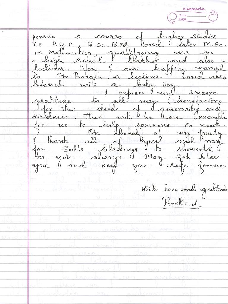 Dankesbrief | 1×1 für Indien