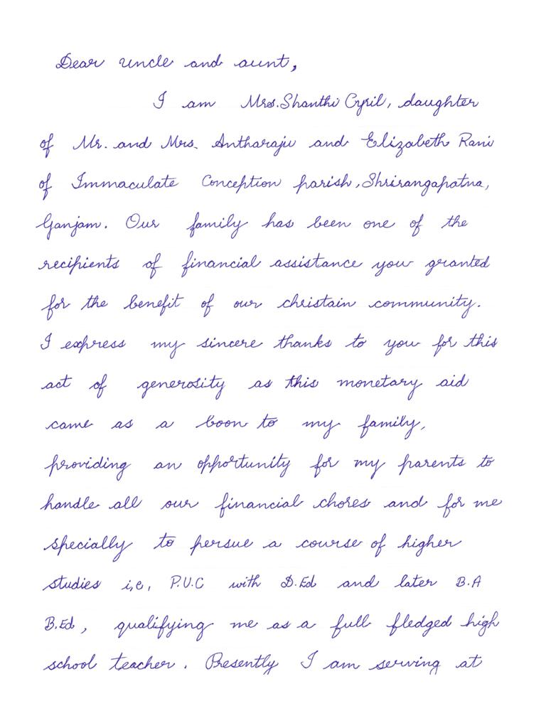 Dankesbrief 11 Für Indien