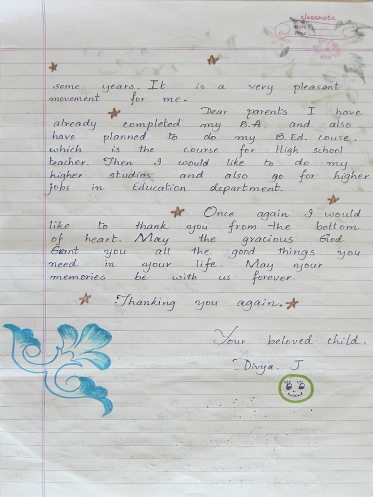 Erster Dankesbrief von Divya 2/2
