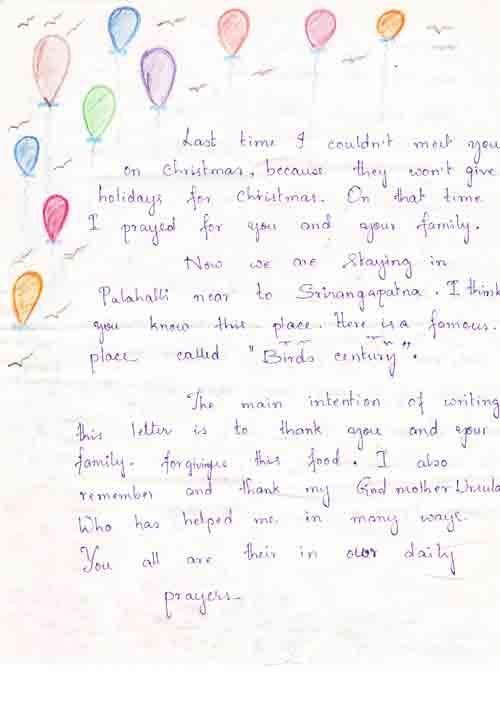 Zweiter Dankesbrief von Divya 2/3