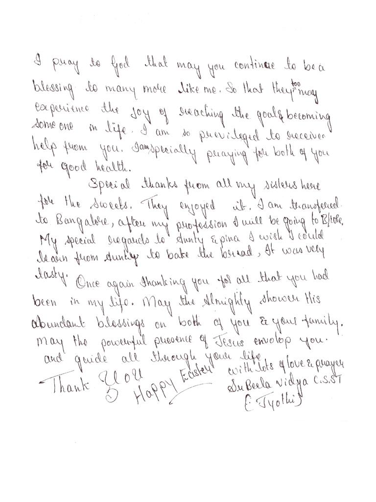Erster Dankesbrief von Jyothi 2/2